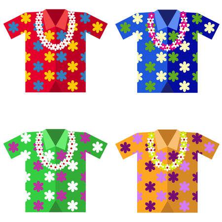 palm wreath: Hawaiian shirt with a garland of flowers. Flat design, vector illustration, vector.