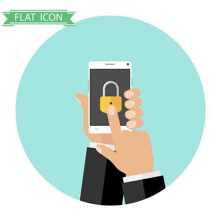 Unlock the phone. Flat design, vector illustration, vector. Illustration