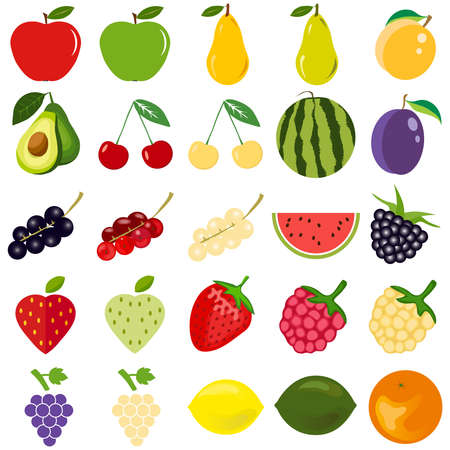 Fruits and berries are a great set. Flat design, vector illustration, vector.