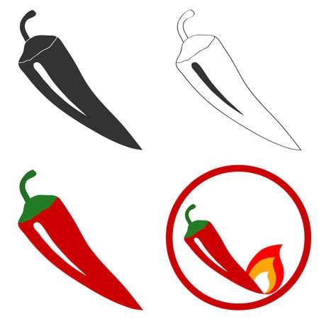 Bitter pepper. Flat design, vector illustration, vector. Illustration