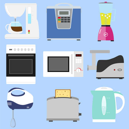 gas laundry: Kitchen appliances, washing machine, refrigerator, kitchen hood. Flat design, vector illustration, vector.