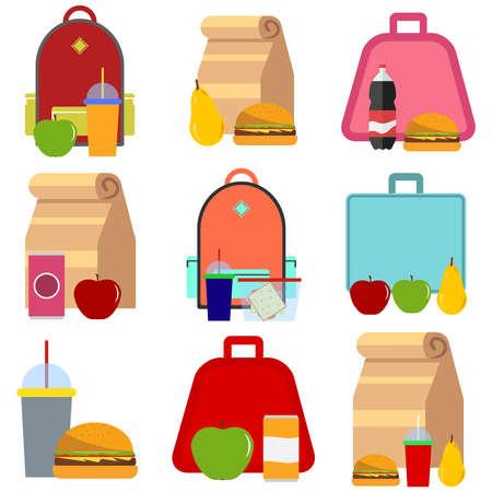 School food. Flat design, vector illustration, vector. Vektoros illusztráció