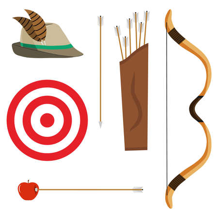 projectile: Bow, arrows and a target. Flat design, vector illustration, vector.
