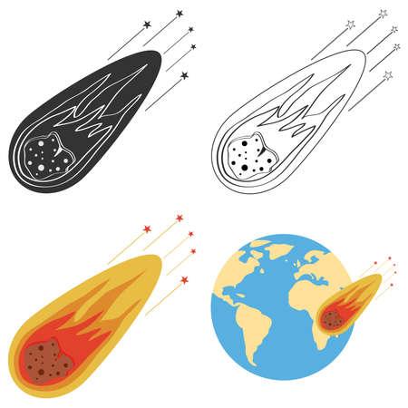 Flying meteorite. Flat design, vector illustration, vector.