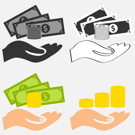 The hand keeps the money. Flat design, vector illustration, vector Illustration