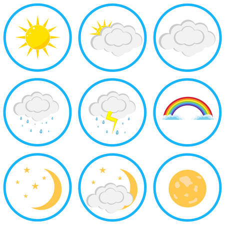 A set of clouds and sun. Flat design, vector illustration, vector.