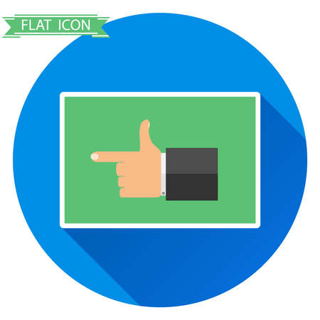 The hand shows the direction of the finger. Flat design, vector illustration, vector.