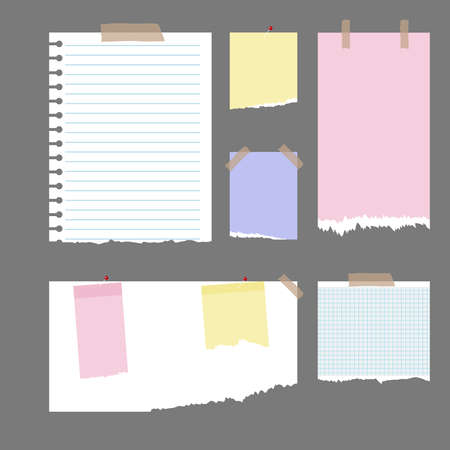 old notebook: Pieces of torn paper. Flat design, vector illustration, vector.