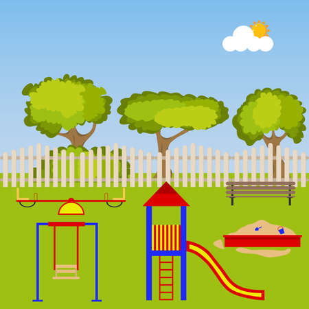 Childrens playground with a sandbox and swings. Flat design, vector illustration, vector.