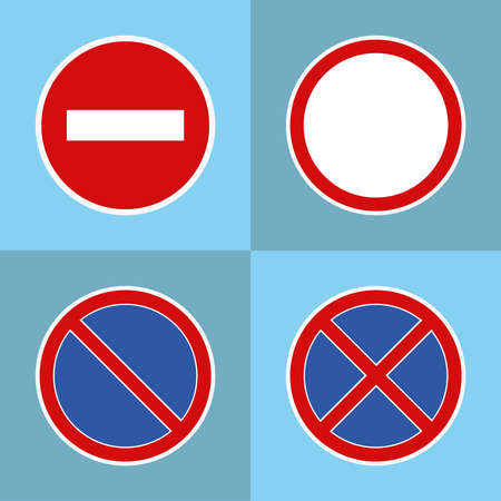 Road prohibitory signs. Flat design, vector illustration, vector. Illustration