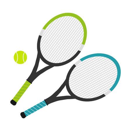 Tennis raket. Vlak ontwerp, vectorillustratie, vector. Stock Illustratie
