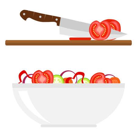 Cut vegetables for salad. Flat design, vector illustration, vector.