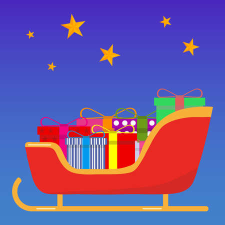 claus: Sledge of Santa Claus with gifts. Flat design, vector illustration, vector. Illustration