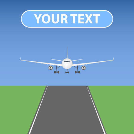 aviations: The plane comes to land. Flat design, vector illustration, vector. Illustration