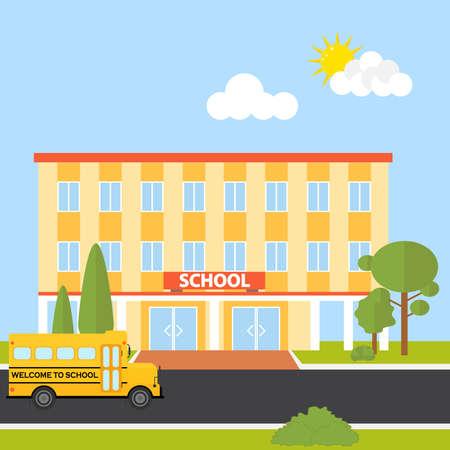 Schoolgebouw met schoolbus. Vlak ontwerp, vectorillustratie, vector.