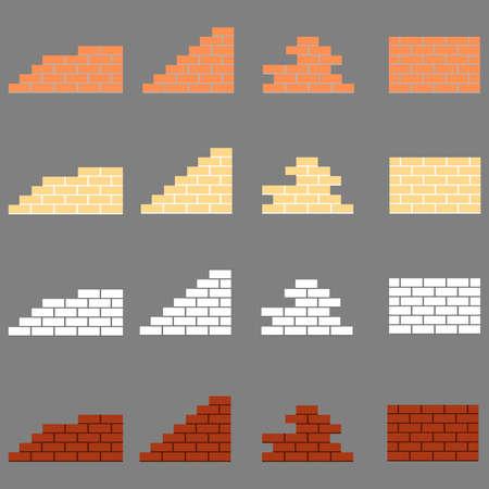 Fragments of brickwork. Flat design, vector illustration, vector.