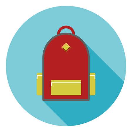 Backpack of the schoolboy. Flat design, vector illustration, vector. Illustration