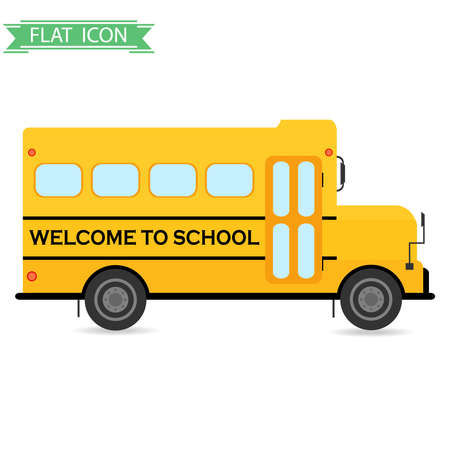 school: School bus. Flat design, vector illustration, vector.