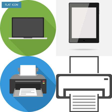 Sprzęt biurowy, laptop, drukarka, tablet. Płaska konstrukcja, ilustracji wektorowych, wektor.