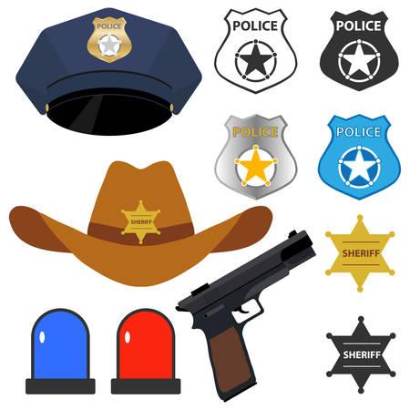 Policemans accessories. Flat design, vector illustration, vector.