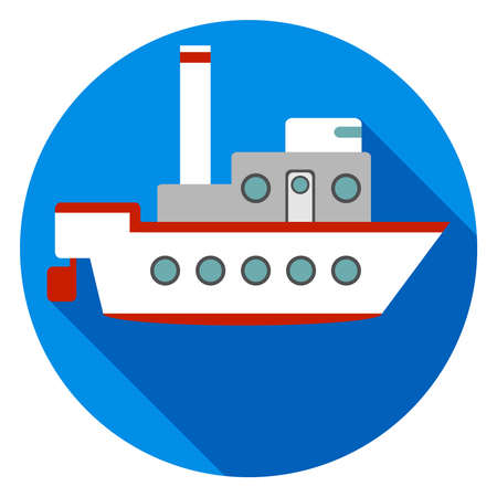 Ship on a blue background with a shadow. Flat design, vector illustration, vector.