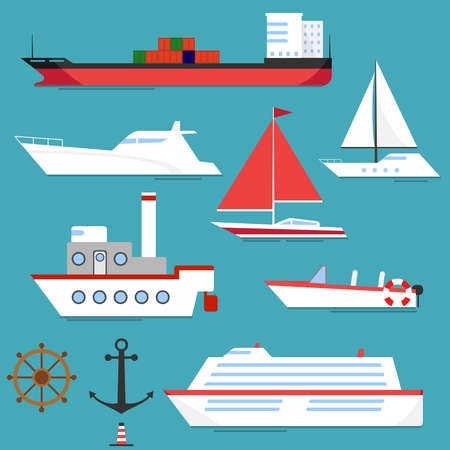 hovercraft: A ship, a barge, a yacht, a boat. Flat design, vector illustration, vector.