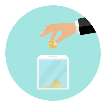 The hand throws a coin into the box for donations. Flat design, vector illustration, vector.