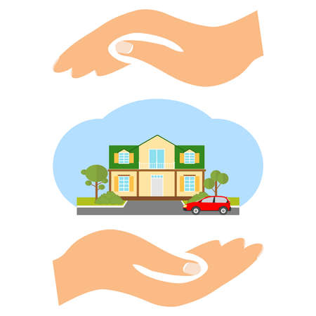 auto service: The house is in the hands of an insurance agent. Flat design, vector illustration, vector.