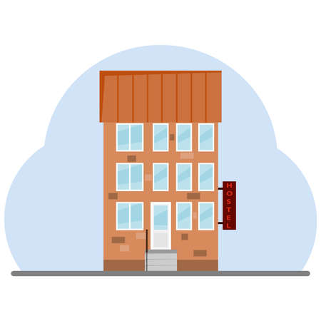 guest house: The building of the hostel. Flat design, vector illustration, vector.