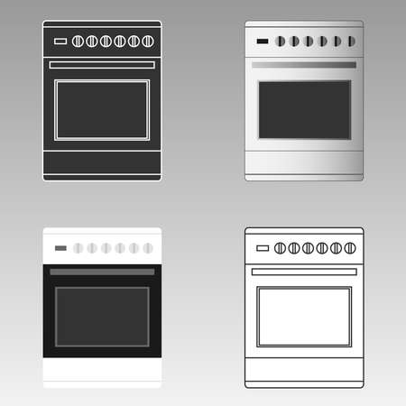butane: Kitchen stove. Flat design, vector illustration, vector.