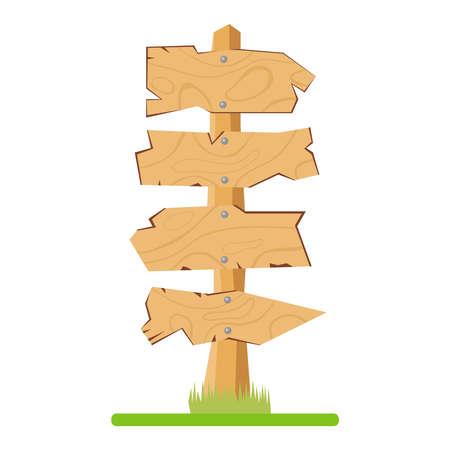 Wooden signposts. Flat design, vector illustration.