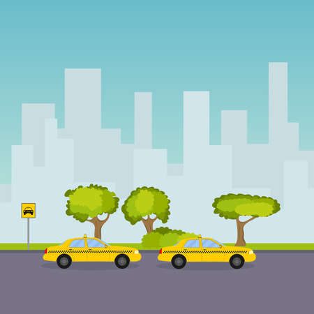 Taxi parking on the background of the cityscape. Flat design, vector illustration, vector.