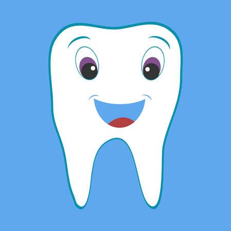 White cartoon tooth. Flat design, vector illustration, vector.