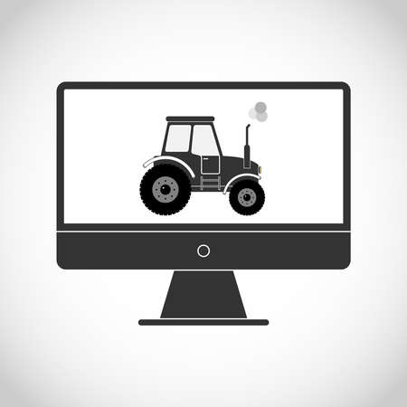 industrial machinery: Tractor on the monitor. Flat design, vector illustration, vector. Illustration