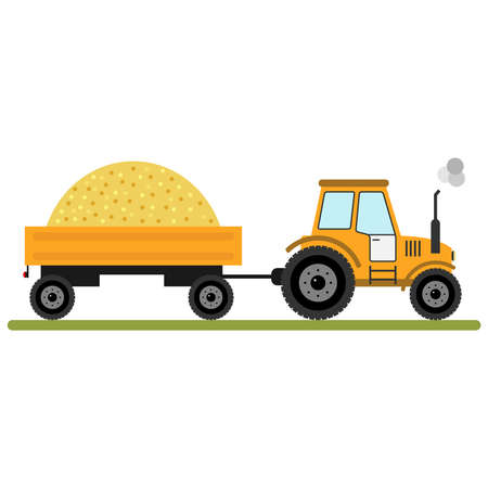 Tractor with a trailer of grain. Flat design, vector illustration, vector.