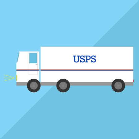usps: A white truck USPS. Flat design, vector illustration.