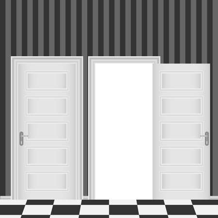 Closed and open entrance white door. Flat design, vector illustration, vector.