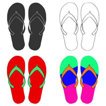 Flip-flops set. Flat design, vector illustration, vector.