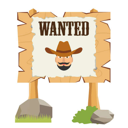 A board with a leaf is wanted. Flat design, vector illustration, vector.