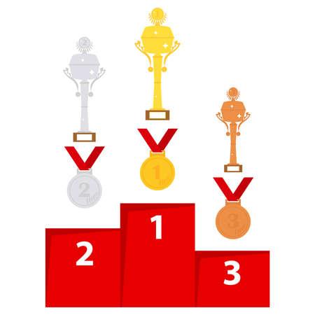 Sport trophies. Sleek design, vector illustration