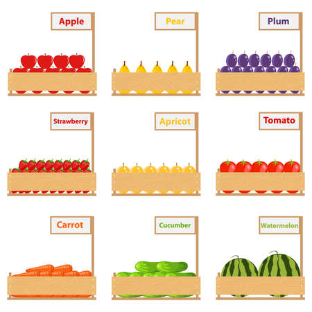 Fruits and vegetables in boxes. Flat design, vector illustration, vector.