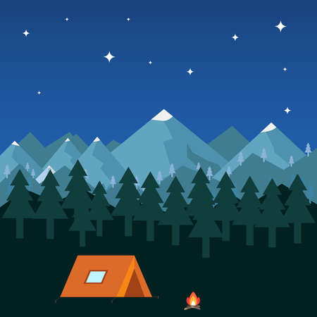 couple hiking: Night camping in the mountains. Flat design, vector illustration. Illustration