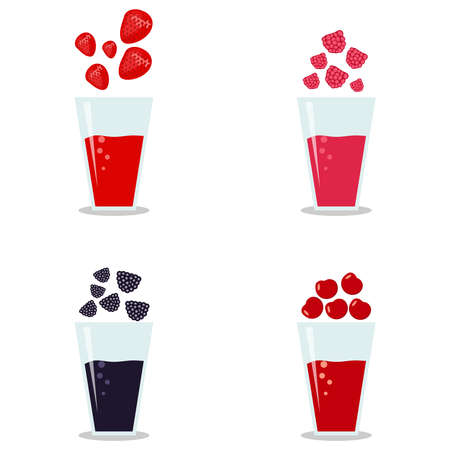 gobi: Berry smoothies glasses composition. Flat design, vector illustration, vector.