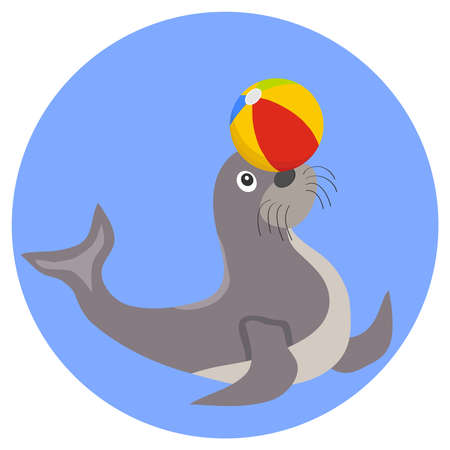 Seal plays with the ball icon. Flat design, vector illustration, vector.