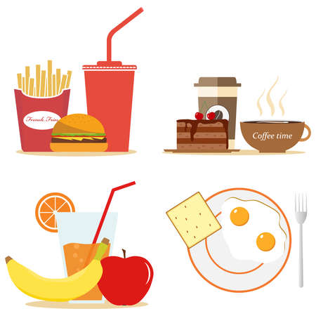 Breakfast food. Lunch coffee, orange and morning nutrition. Flat design, vector illustration, vector. Illustration
