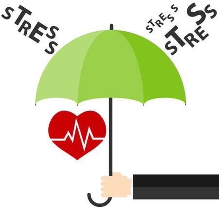 heavy heart: Heart under an umbrella, protection from stress. Flat design, vector illustration, vector.