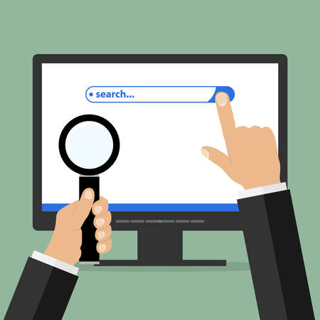 icons site search: Information search string on the monitor with the hand and magnifying glass in hand. Flat design, vector illustration, vector.