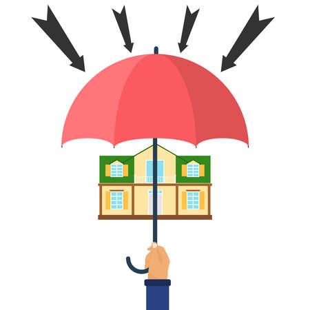 Protection from attacks, house under an umbrella. Flat design, vector illustration, vector. Vektoros illusztráció