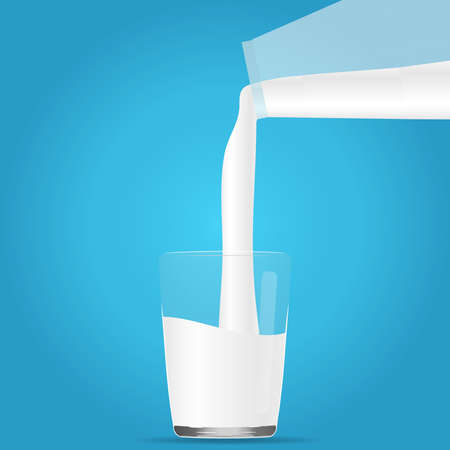 poured: Milk is poured into a glass. Flat design, vector illustration, vector.