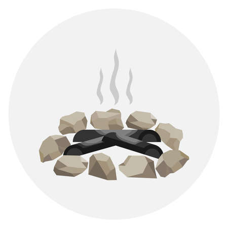 A fading bonfire surrounded by stones. Smoke on the fire, ashes. Flat design, vector illustration, vector.